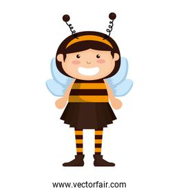 cute girl dressed up as a halloween bee