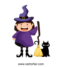 girl dressed up as a halloween witch with broom