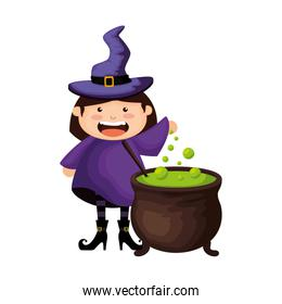 girl dressed up as a halloween witch with cauldron