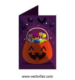 card with halloween pumpkin and candies