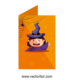 card with girl dressed up as a halloween witch