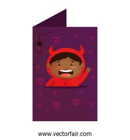 card with boy dressed up as a halloween devil