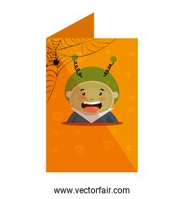 card with boy dressed up as a halloween martian