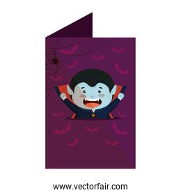 card with boy dressed up as a halloween dracula