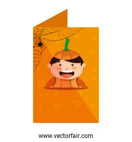 card with boy dressed up as a halloween pumpkin