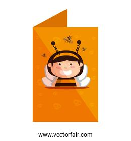 card with girl dressed up as a halloween bee