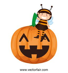 girl dressed up as a halloween bee with pumpkin