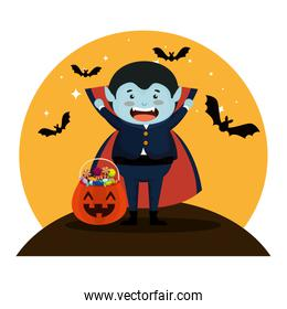 boy dressed up as a halloween dracula with bats flying