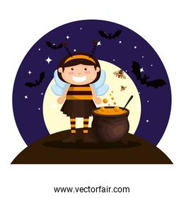 girl dressed up as a halloween bee on night