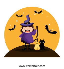 girl dressed up as a halloween witch with bats flying
