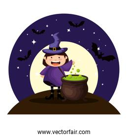 girl dressed up as a halloween witch on night