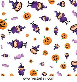 girl dressed up as a halloween witches pattern