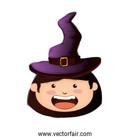 head girl dressed up as a halloween witch
