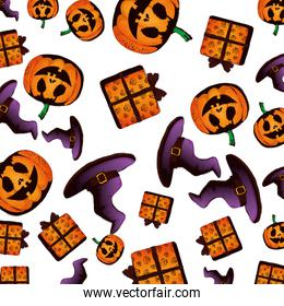 happy halloween giftboxes with witch hats pattern