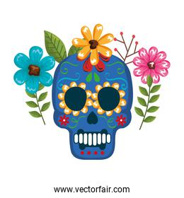 mask of the santa death with flowers