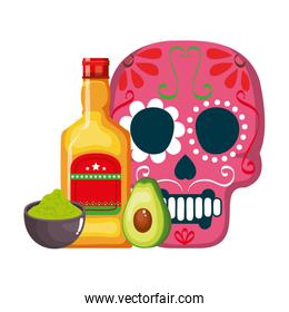 mask of the santa death with flowers and tequila