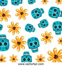 mask of the santa death with flowers pattern backdrop