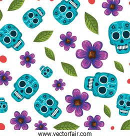 mask of the santa death with flowers pattern