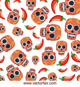 mask of the santa death pattern and chili peppers