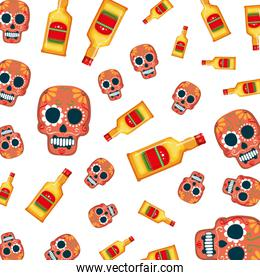 mask of the santa death and tequila pattern