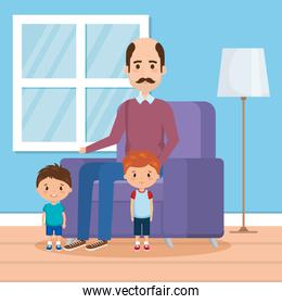 grandfather with grandson on livingroom