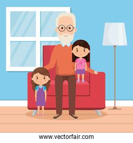 grandfather with granddaughters on livingroom