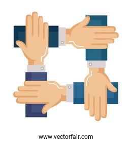 business hands teamwork icon