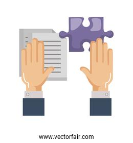 hands with puzzle piece and documents