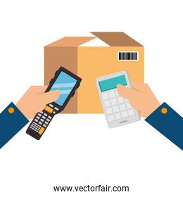 packing box with voucher and calculator