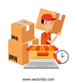 delivery worker with boxes and laptop