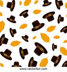 pilgrim hats and leafs thanksgiving pattern