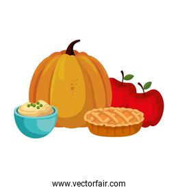 fresh pumpkin with apple and delicious pie