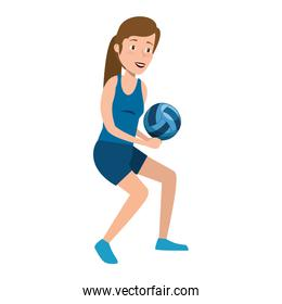 young woman athlete practicing volleyball