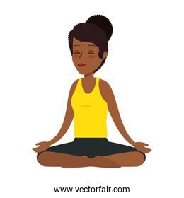 young black woman practicing yoga