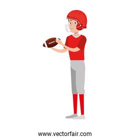 young man practicing american football