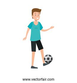 young man practicing soccer