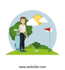 young man practicing golf