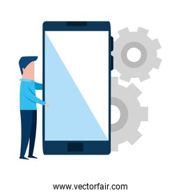 businessman with smartphone and gears