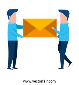 teamworkers with envelope mail