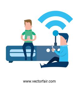 teamwork with router of wifi signal