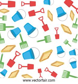 plastic sand buckets and toys pattern