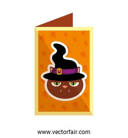 halloween card with black cat and witch hat
