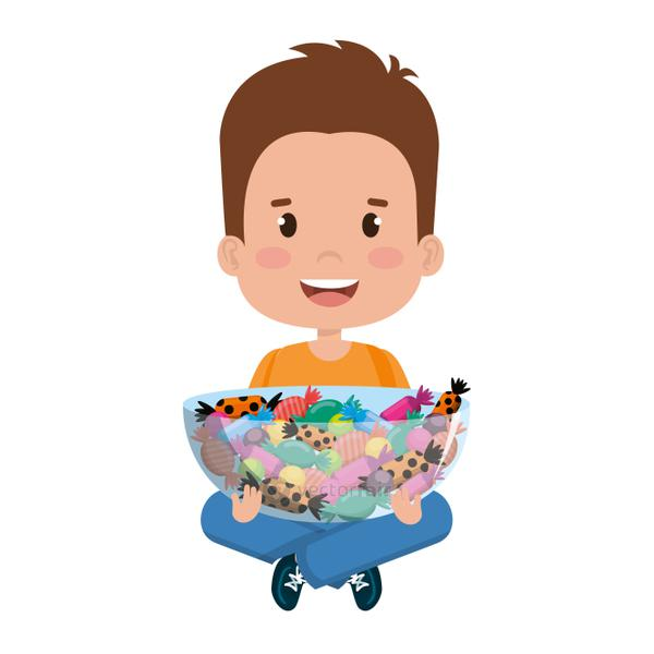 little boy lifting sweet candies set in bowl
