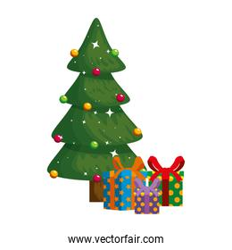 merry christmas tree with gifts