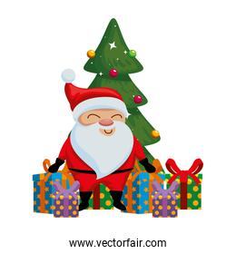 cute santa claus with tree and gifts