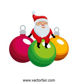 merry christmas balls with santa claus
