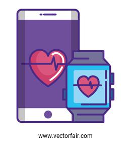 smartwatch and smartphone with cardiology app