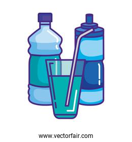 water bottles and glass