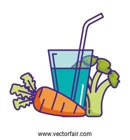 water cup glass with straw and vegetables