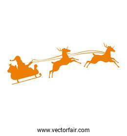 santa reindeer flying with carriage silhouette